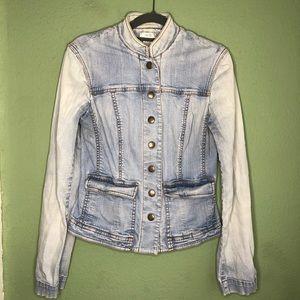 Cache Denim Jacket with Mandarin Collar Size 2